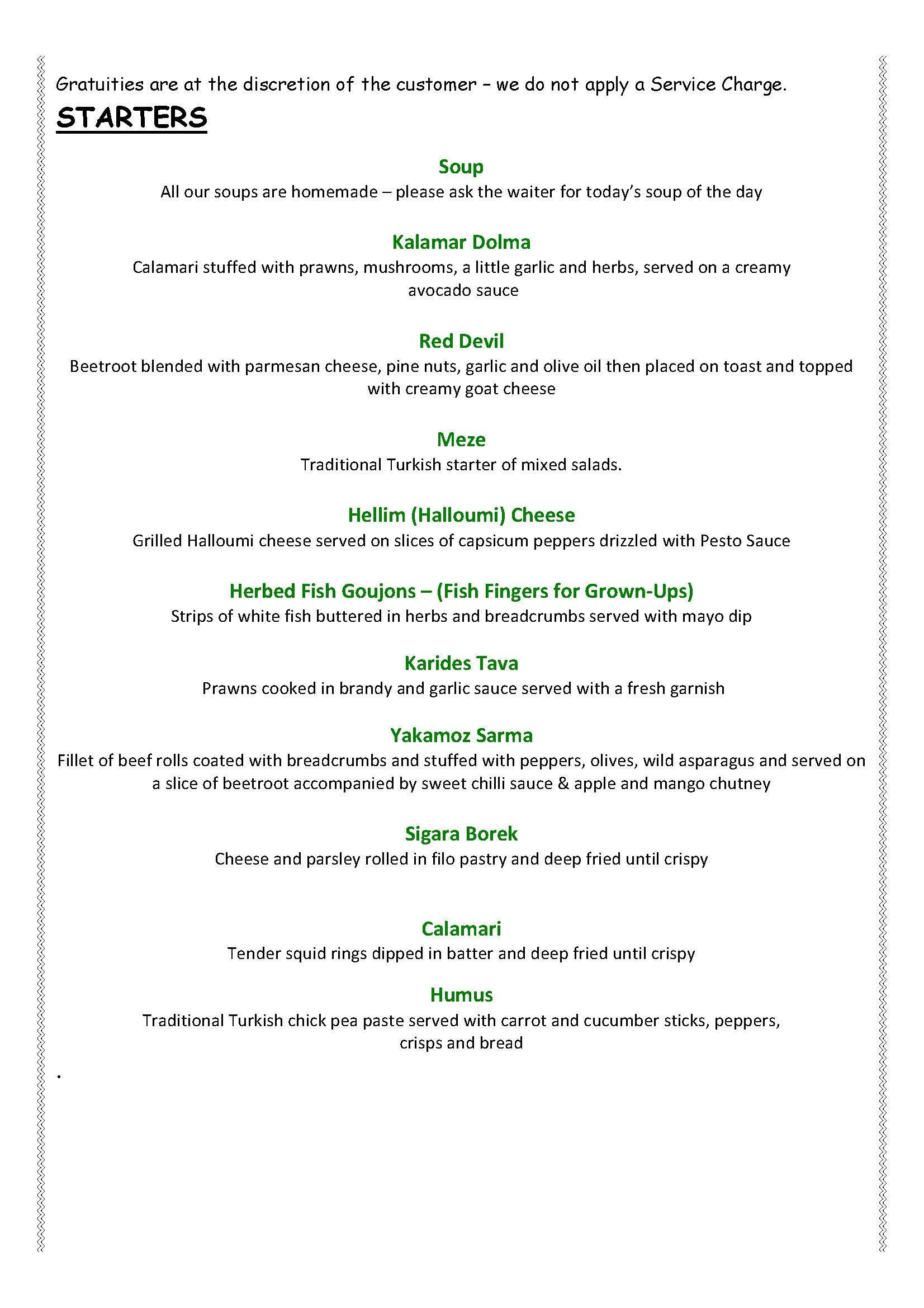 Yakamoz Dinner Menu 2016 Page 2