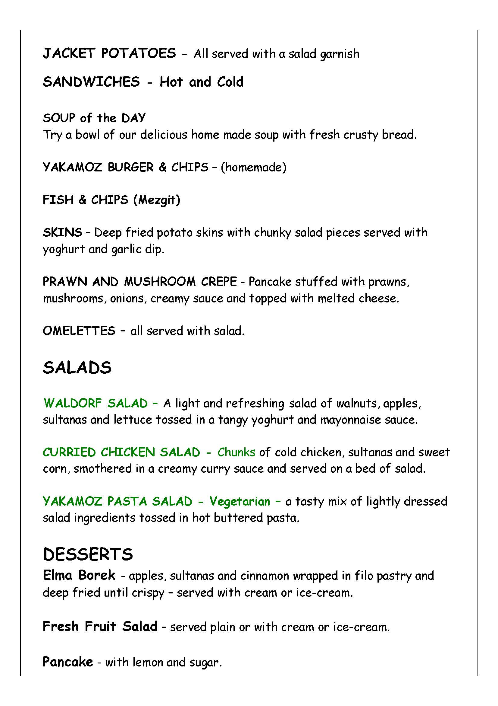 Yakamoz Lunch Menu 2016 Page 2
