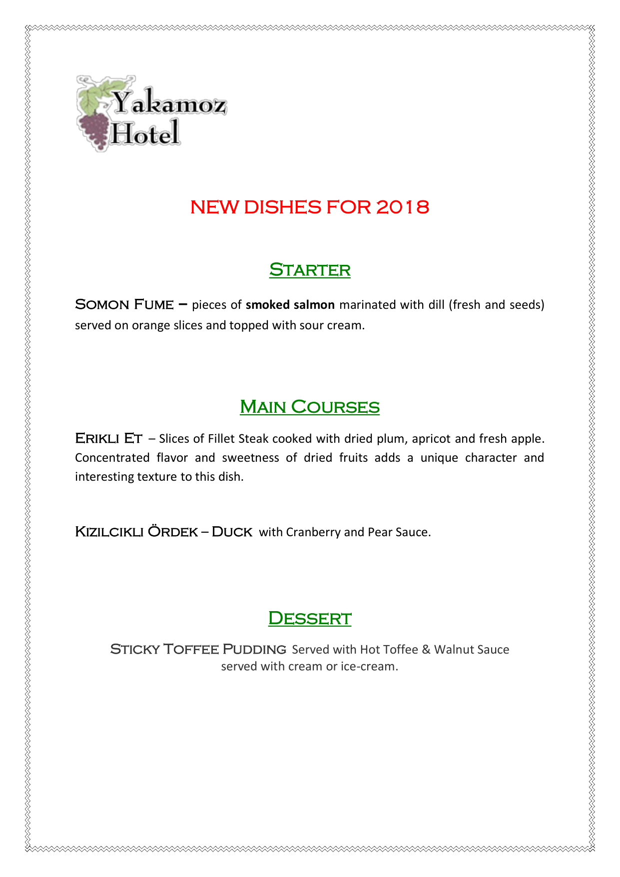 New Dishes For 2018